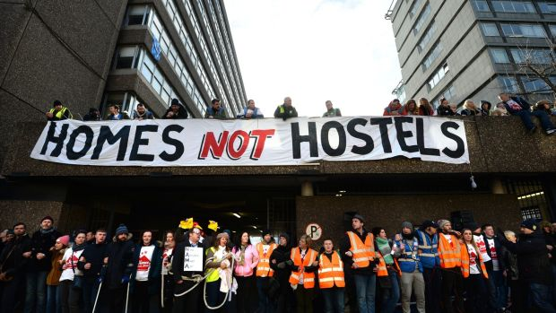 Human chain formed around Apollo House on January 11th by volunteers and supporters, while the High Court hearing was taking place. Photograph: Dara Mac Dónaill /The Irish Times