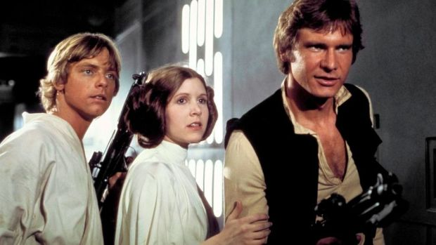 Mark Hamill, Carrie Fisher and Harrison Ford in a scene from 'Star Wars'. Photograph: LucasFilm