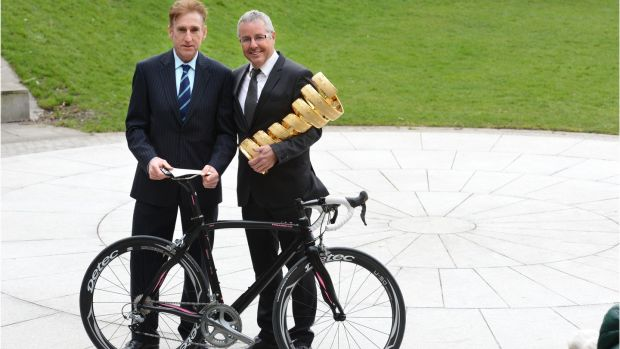 Sean Kelly and Stephen Roche at the annoucement in 2013 of the Giro d'Italia cycle race coming to Ireland. Photograph: Dara Mac Dónaill