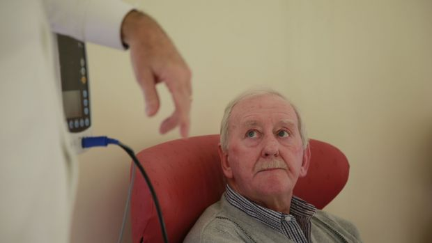 Sean Manning, a neuropathy patient from Finglas, being treated at the Dublin Neurological Institute. Photograph Nick Bradshaw