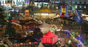 Night view of Galway Continental Christmas Market