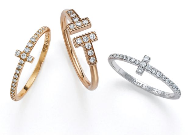 353eb508d ... blend to create these rings, seen here in 18K rose, yellow and white gold  with round brilliant diamonds. Price: from €1,850. TIFFANY T SQUARE BRACELET