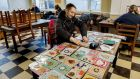 Gheorghe Filip from Romania making hand-made Christmas cards  at the Mendicity Institute. The cards will   go on sale this Sunday at the Mendicity Institute Christmas Market.  Photograph: Brenda Fitzsimons