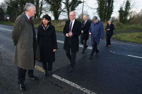 BORDER VISIT: Hillary Benn MP, chair of the House of Commons Brexit Committee (left), with committee members on the Border in Middletown, Co Armagh, during a visit to hear evidence on the likely impact of Brexit on Northern Ireland. Photograph: Brian Lawless/PA Wire