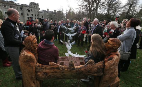 MISSING PERSONS DAY: Homing pigeons are released in front of relatives of missing persons at a commemorative ceremony to mark this year's national Missing Persons Day at Farmleigh House at the Phoenix Park. Photograph: Colin Keegan/Collins Dublin