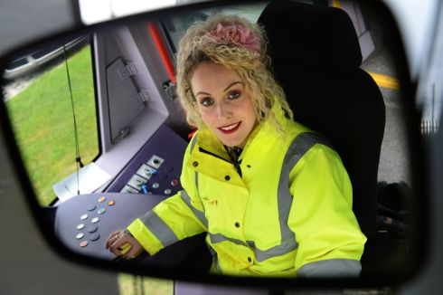 LUAS CROSS CITY: Luas driver Maeve Kinsella pictured at a Luas depot in Dublin as the Luas Cross City prepared to start operations in Dublin. Photograph: Dara Mac Dónaill/The Irish Times