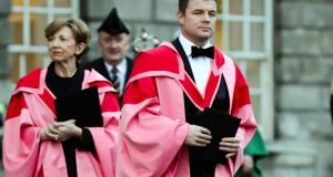 Journalist and broadcaster Olivia O'Leary and Brian O'Driscoll, the most capped Irish rugby player and Olivia O'Leary,  before the honorary doctorate ceremony in Trinity College on Friday