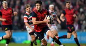 Conor Murray  in action for Munster during the European Rugby Champions Cup match last year against  Leicester Tigers. Photograph: Laurence Griffiths/Getty Images