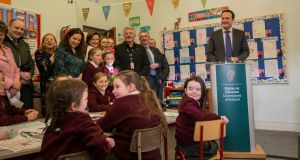 Taoiseach Leo Varadkar visits St Laurence O'Toole girls' national school in Seville Place, Dublin, on Thursday. Photograph: Brenda Fitzsimons