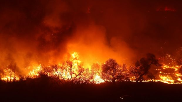 The Lilac Fire, a fast moving wildfire, continues to burn in Bonsall, California, US, December 7th, 2017. Photograph: Mike Blake/Reuters