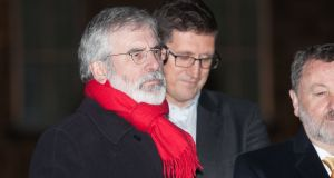 Gerry Adams during a Christmas tree lights ceremony in Leinster house this week. Photograph: Collins