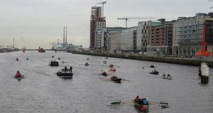 The flotilla of craft which took to the Liffey for the All-in-a-Row charity event on Saturday. Photograph: Liam Gorman