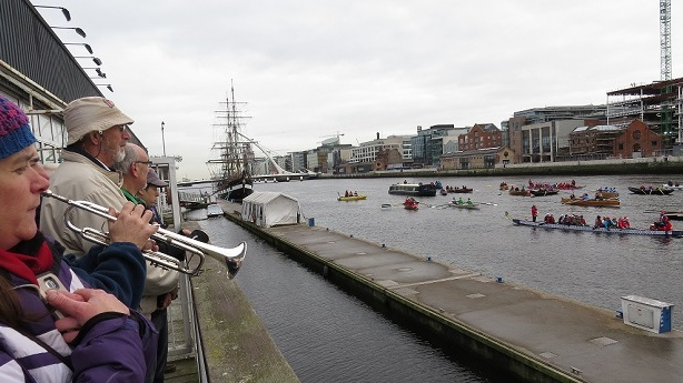 Pat O'Connor plays the Last Post before the All-in-a-Row Flotilla on the Liffey on Saturday.Photograph: Liam Gorman