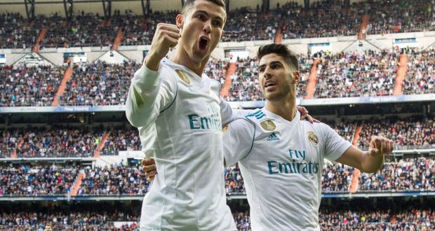 66dffdf13 Real Madrid's Portuguese forward Cristiano Ronaldo celebrates with his  team-mate Marco Asensio after scoring