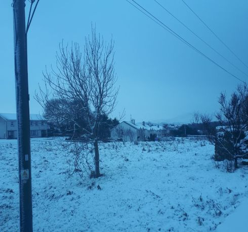 Snow fell in Westport, Co Mayo overnight. Photograph: Orla Buckley