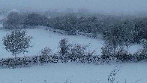Abbeyknockmoy, Co. Galway. Gardaí issued a warning to motorists, advising them to take extra care, particularly in areas affected by the status orange weather warning. Photograph: Cora Clerkin/Twitter