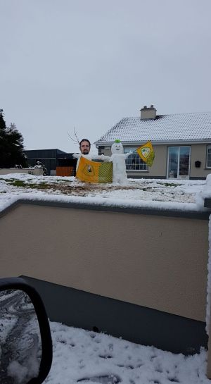 A snowman and a snowMing in Co Galway. Photograph: Cora Clerkin