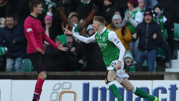 Hibernian's Oli Shaw celebrates scoring his side's equaliser against Celtic. Photograph: Andrew Milligan/PA
