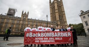 Workers and supporters from  Belfast Bombardier plants   highlighting  the proposed  US tariffs in London. Photograph:  Carl Court/Getty Images