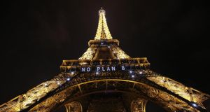 No plan B: the One Planet Summit is being held two years to the day since the landmark Paris accord on climate change was agreed. Photograph: Patrick Kovarik/AFP/Getty