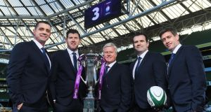 TV3's Six Nations co-commentator Alan Quinlan (left) with its panellists for the tournament Shane Horgan, Matt Williams, Shane Jennings and Ronan O'Gara. Photograph: Brendan Moran/Sportsfile