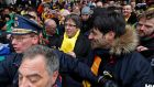 Ousted Catalan leader Carles Puigdemont taking part in a pro-independence rally for Catalonia, in Brussels on  December 7th. Photograph: Yves Herman/Reuters