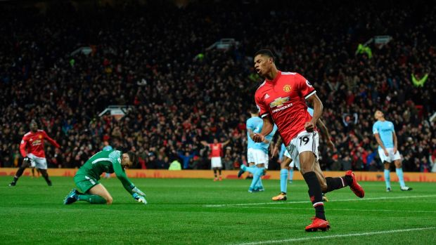 Marcus Rashford equalised for Manchester United at Old Trafford. Photograph: Oli Scarff/AFP