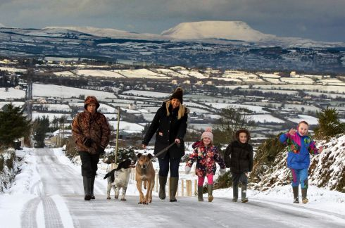 LEAD THE WAY: Family pets Jingles and Gunner help out during a winter walk in the snow in Co Donegal. Photograph: Brian McDaid