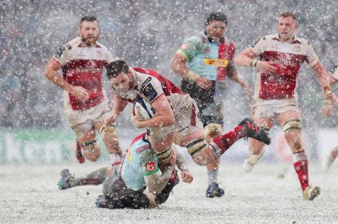ICE BLOCK: Ulster's Iain Henderson is tackled by Tim Visser of Harlequins during their European Rugby Champions Cup clash in London, England. Photograph: INPHO/Ryan Byrne