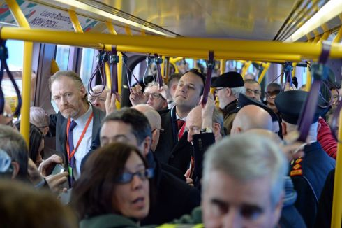 INSIDE TRACK: Taoiseach Leo Varadkar travels on the inaugural Luas journey to Broombridge from O'Connell Street. Photograph: Cyril Byrne/The Irish Times