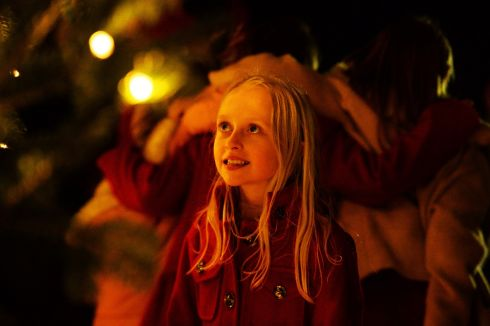 SEE THE LIGHT: Ali Cotter, from Co Tipperary, watches the switching on of the Christmas tree lights at Áras an Uachtaráin. Photograph: Cyril Byrne/The Irish Times