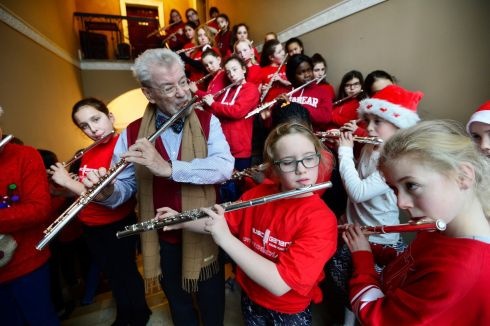 JINGLE ALL THE WAY: James Galway and young flautists from across Ireland at the Galway Flute Academy at the Royal Irish Academy of Music in Dublin. Photograph: Cyril Byrne/The Irish Times