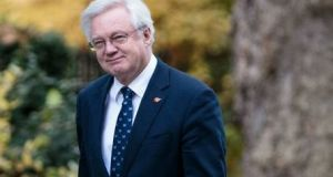 Brexit secretary David Davis: he said full alignment would only apply to a limited number of sectors identified in the Belfast Agreement if Britain leaves the EU without a free trade deal.  Photograph: Getty Images