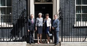 Conservative-DUP agreement: the Democratic Unionist politicians Nigel Dodds, Arlene Foster and Jeffrey Donaldson with Theresa May at Downing Street in June. Photograph: Carl Court/Getty