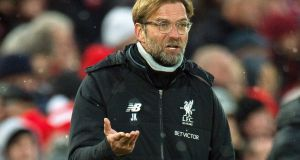 Liverpool manager Jürgen Klopp  during the  Merseyside derby  against Everton  at Anfield. Photograph: EPA/Peter Powell
