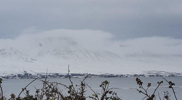 Croagh Patrick in Co Mayo hidden amid cloud and snow today. Photograph: Elizabeth Healy
