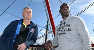 Steve Conneely of the Maria Magdalena III fishing vessel, with Ernest Okutu. Photograph: Joe O'Shaughnessy