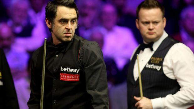 Ronnie O'Sullivan pulled away from Shaun Murphy on Sunday evening to win 10-5. Photograph: Richard Sellers/PA