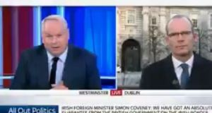Adam Boulton interviews Tanaiste Simon Coveney on Sky News on Friday