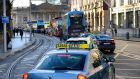 Traffic backed up from Pearse Street to College Green. Photograph: Cyril Byrne/The Irish Times