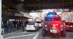 Police and other first responders at the Port Authority Bus Terminal. Photograph: Getty