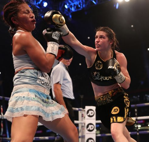 Katie Taylo v Anahi Esther Sanchez  in the WBA Lightweight Title, Principality Stadium, Cardiff in October.   Photograph: Lawrence Lustig / INPHO