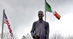 Statue of Fr Edward Flanagan donated by the Boys Town National Alumni Association Nebraska USA. It stands in the grounds of the Fr Edward Flanaghan Memorial Centre in Ballymoe in Co Galway. Photograph: David Sleator