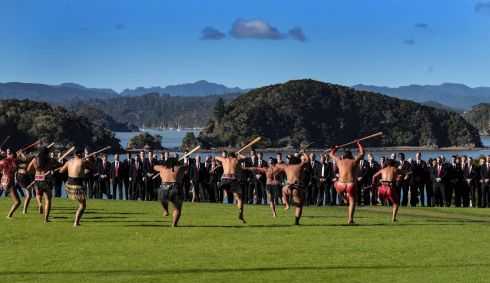 The British and Irish Lions accept the Maori challenge, British and Irish Lions visit the Waitangi Treaty Grounds Bay of Islands New Zealand, April.  Photograph: Billy Stickland / INPHO