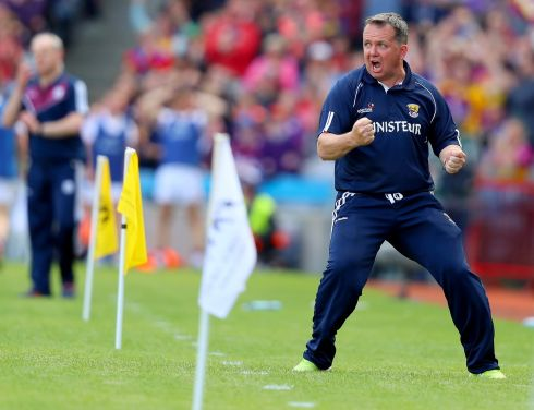 Wexford manager Davy Fitzgerald celebrates his sides first goal against Galway, Leinster GAA Hurling Senior Championship Final, Croke Park in August.   Photograph: Oisin Keniry / INPHO