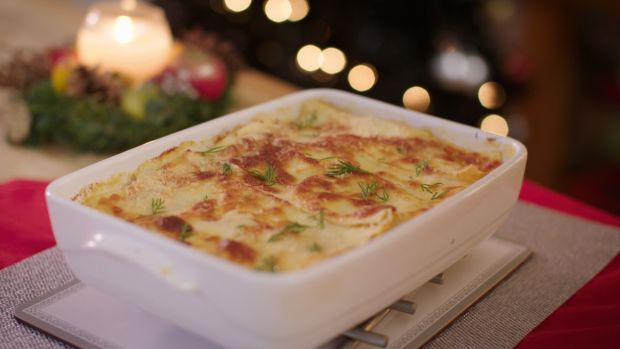 Seafood lasagne, with hake, smoked haddock and prawns