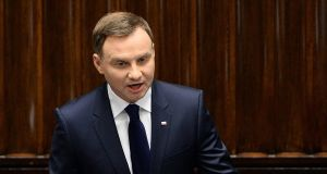 Poland president Andrzej Duda: due to visit Ukraine this week to try to soothe strained relations. Photograph: Janek Skarzynski/AFP/Getty Images
