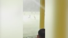 Welsh football team play 90 minutes in a snowstorm