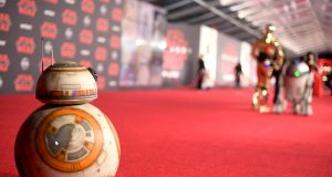 BB-8 attends the premiere of Disney Pictures and Lucasfilm's 'Star Wars: The Last Jedi' at the Shrine Auditorium in Los Angeles. Photograph: by Matt Winkelmeyer/Getty Images