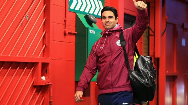 Mikel Arteta arrives at Old Trafford before the game. Photo: Victoria Haydn/Man City via Getty Images